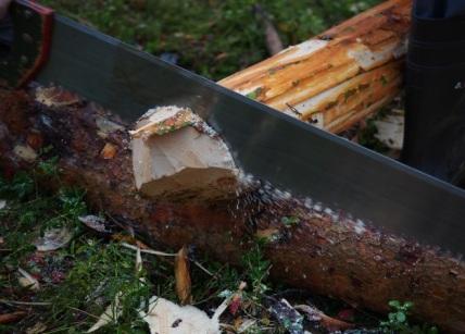 Emnet legges opp på underlagsstokken, og reinskjæres med en tømmersvans. Foto: Åge Emil Bergquist