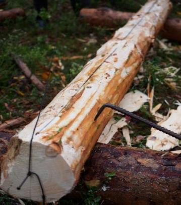 Snora legges i hakket på stokken og stokken snorslås. Foto: Åge Emil Bergquist