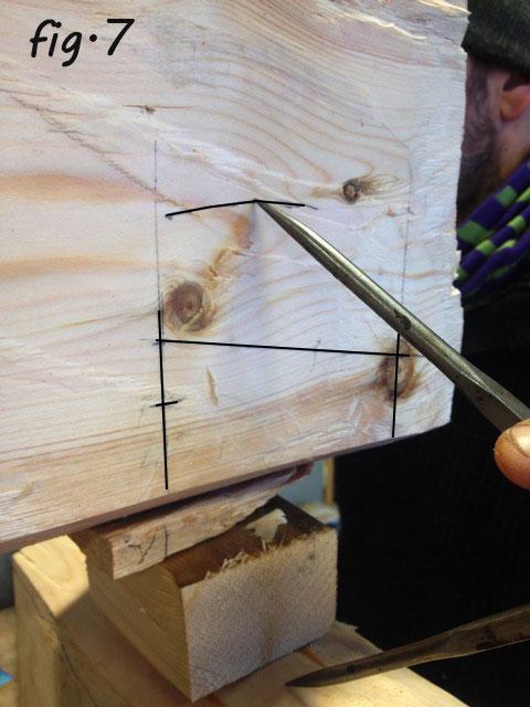 Fig 7. Stikkmålet blir også overført frå overkant av understokken til påstokken for å avgrense høgda på slissen for tappen. Foto: Pål Sneve Prestbakk