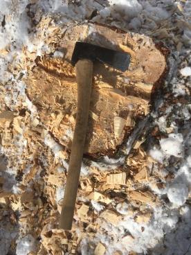 Tømmeret vart felt med øks. Foto: Roald Renmælmo