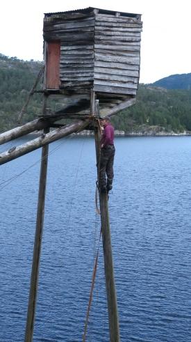 Kledningen på hytta før ho vart riven. Kledningen er montert i viftefasong.