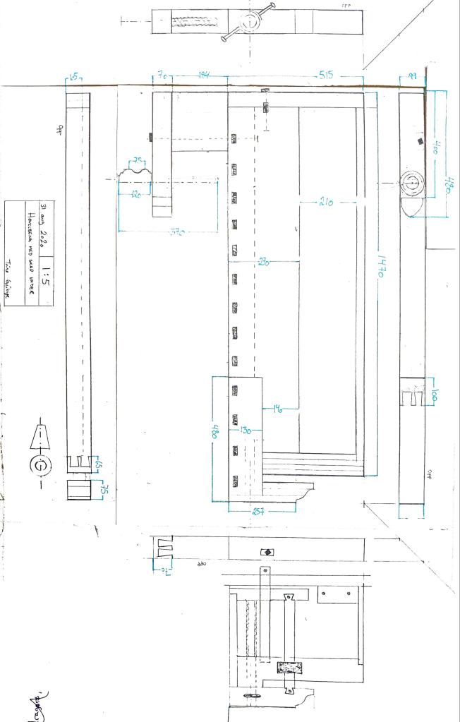 Jeg ville dokumentere denne benken gjennom en teknisk tegning da det er enkelt å hente ut alle mål en skulle trenge, om en skulle kopiert benken. I denne versjonen har jeg kun satt på noen utvalgte mål.